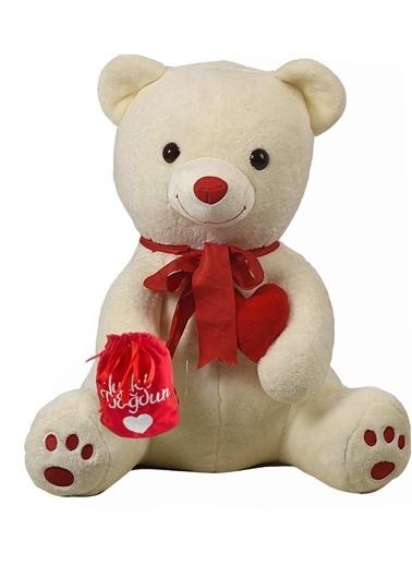 """Sole Çikolatası ve Kalbi ile Romantik """"İyi ki Doğdun"""" Temalı Peluş Ayı Beyaz"""